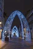 Luces de la Navidad en la calle del sur de Molton, Londres Imágenes de archivo libres de regalías