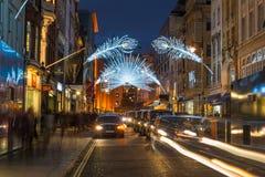 Luces de la Navidad en la nueva calle en enlace, Londres, Reino Unido Imagen de archivo libre de regalías