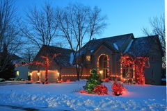 Luces de la Navidad en Minnesota Imagenes de archivo