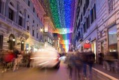 Luces de la Navidad en Roma Imagen de archivo libre de regalías