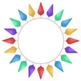 Luces de la Navidad en un icono aislado círculo en el ejemplo blanco, común del vector ilustración del vector