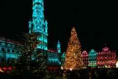 Luces de la Navidad, Grand Place, Bruselas, Bélgica Imágenes de archivo libres de regalías