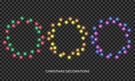 Luces de la Navidad La guirnalda multicolora realista por Año Nuevo y Navidad sazonan Luces brillantes aisladas que brillan inten stock de ilustración