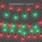 Luces de la Navidad Guirnalda que brilla intensamente en fondo transparente Imagen de archivo