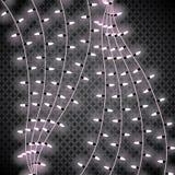 Luces de la Navidad Guirnalda que brilla intensamente en fondo transparente Luces brillantes Imagen de archivo libre de regalías