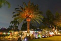 Luces de la Navidad hermosas en vecindad superior del rancho de Hastings Imagenes de archivo