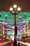 Luces de la Navidad a lo largo de la calle del regente Fotografía de archivo libre de regalías