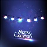Luces de la Navidad que brillan intensamente coloridas Ilustración del vector Foto de archivo libre de regalías
