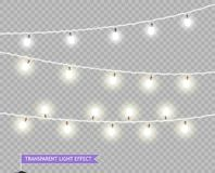 Luces de la Navidad Luces que brillan intensamente de Navidad del vector Guirnaldas para adornar los carteles de la tienda, bande libre illustration