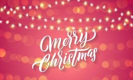 Luces de la Navidad y llamaradas ligeras chispeantes en fondo del día de fiesta de Navidad  stock de ilustración