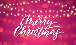 Luces de la Navidad y llamaradas ligeras chispeantes en fondo del día de fiesta de Navidad Vector las letras de la Feliz Navidad  ilustración del vector