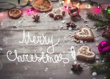 Luces de la Navidad y pan de jengibre Imagenes de archivo