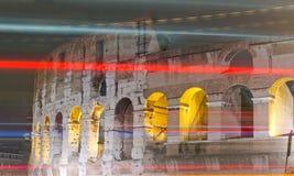 Luces de la noche de Colosseum Foto de archivo libre de regalías