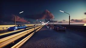 Luces de la noche del tráfico de los coches y del fondo Los coches con las luces se encienden en el puente en la salida del sol libre illustration