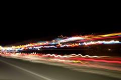 Luces de la noche en la carretera fotografía de archivo libre de regalías