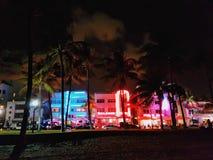 Luces de la noche en la playa del sur, Miami Foto de archivo libre de regalías