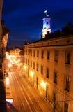 Luces de la noche en Lviv Foto de archivo