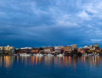 Luces de la noche, puerto de Victoria Fotografía de archivo
