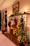 Luces de la sala de estar de la Navidad Fotografía de archivo