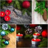 Luces de la vela del muñeco de nieve de la bola de cristal del collage de la Navidad Fotos de archivo libres de regalías