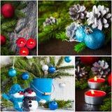Luces de la vela del muñeco de nieve de la bola de cristal del collage de la Navidad Imágenes de archivo libres de regalías
