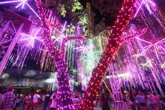 Luces de los días de fiesta de la Navidad Foto de archivo libre de regalías