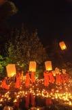 Luces de los monjes que flotan el globo Fotografía de archivo