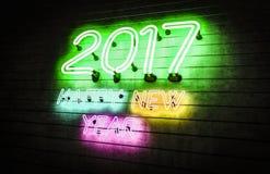 Luces de neón de la Feliz Año Nuevo 2017 Foto de archivo libre de regalías