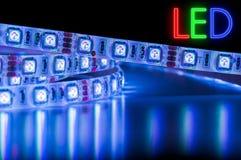 Luces de tira azules del LED, ahorros de energía Fotos de archivo libres de regalías