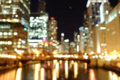 Luces Defocused en la noche Foto de archivo libre de regalías