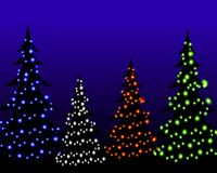 Luces del árbol de navidad en la noche ilustración del vector