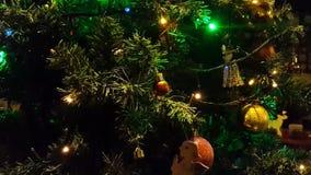 Luces del árbol de navidad que destellan dentro almacen de metraje de vídeo