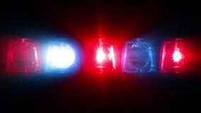 Luces del coche policía que destellan - colocando metrajes