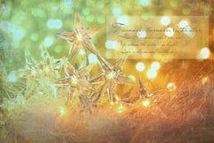 Luces del día de fiesta de la estrella con el fondo de la chispa Foto de archivo libre de regalías