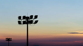 Luces del estadio de la silueta Fotografía de archivo libre de regalías