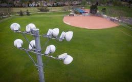Luces del estadio del campo de béisbol Fotografía de archivo libre de regalías