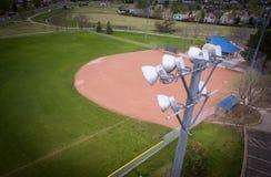 Luces del estadio del campo de béisbol Fotos de archivo