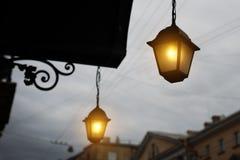 Luces del jardín con la batería solar Foto de archivo