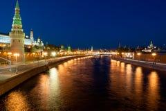 Luces del Kremlin de la noche Imagen de archivo libre de regalías