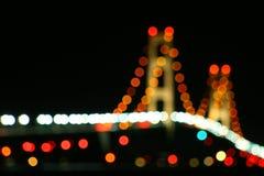 Luces del puente de Mackinac Foto de archivo libre de regalías