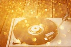 Luces del tocadiscos y del brillo del vintage Foto de archivo