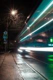 Luces del tren nocturno Fotografía de archivo