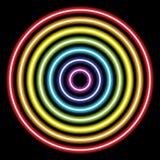 luces del tubo de neón del arco iris del círculo en el negro para el fondo y el diseño ilustración del vector