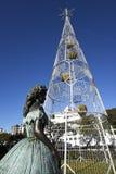 Luces eléctricas enormes que forman un árbol de navidad en Funchal Madeira Imagen de archivo libre de regalías