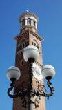 Luces en el della Signoria de la plaza en el fondo de los clo Fotografía de archivo