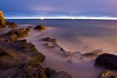 Luces en el mar Fotografía de archivo libre de regalías