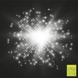Luces en fondo transparente Ejemplo blanco del extracto de la onda del brillo del vector stock de ilustración