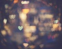 Luces en forma de corazón del bokeh Fotografía de archivo libre de regalías