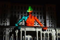Luces en la casa de la gente, Bucarest Imagenes de archivo