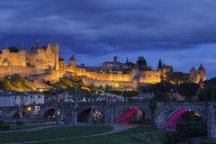 Luces en la hora azul en la ciudadela Imagen de archivo libre de regalías